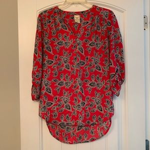 Red black paisley sparkle blouse - women's small